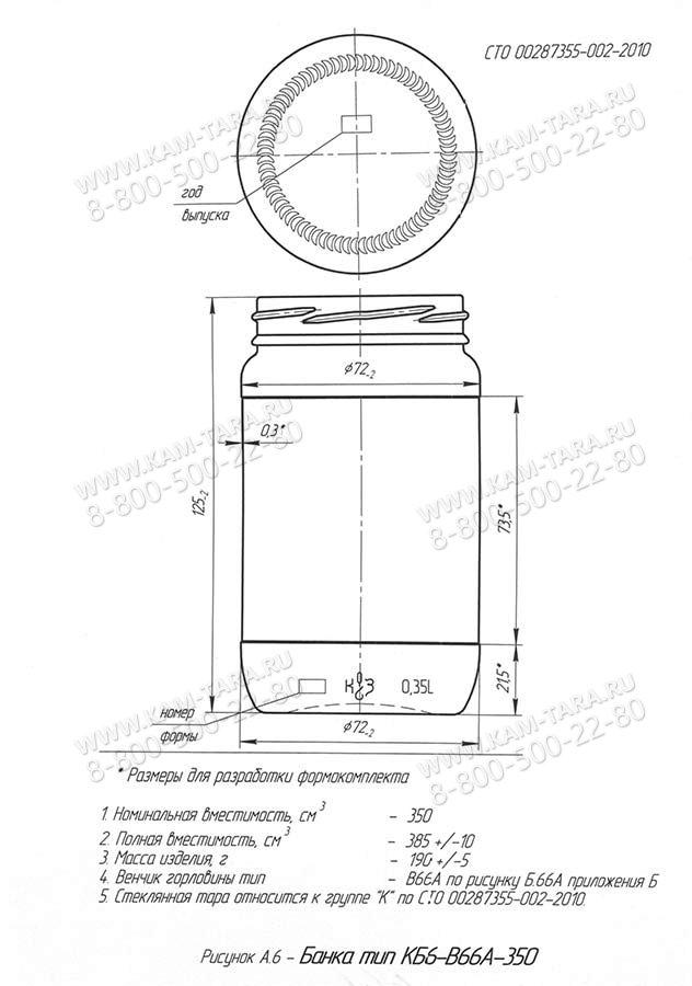 Стеклобанка КБ6-В66А-350 (Бп/п.3600)
